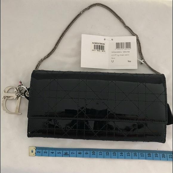 a7f9de16d39d Dior Lady Dior Black Patent Leather Charm Clutch